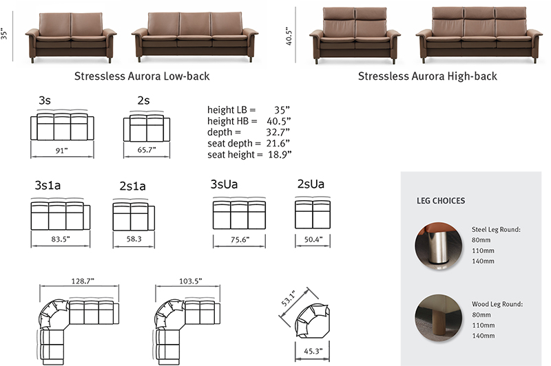 Stressless Aurora Leather Sofa, Loveseat and Sectional Dimensions by Ekornes