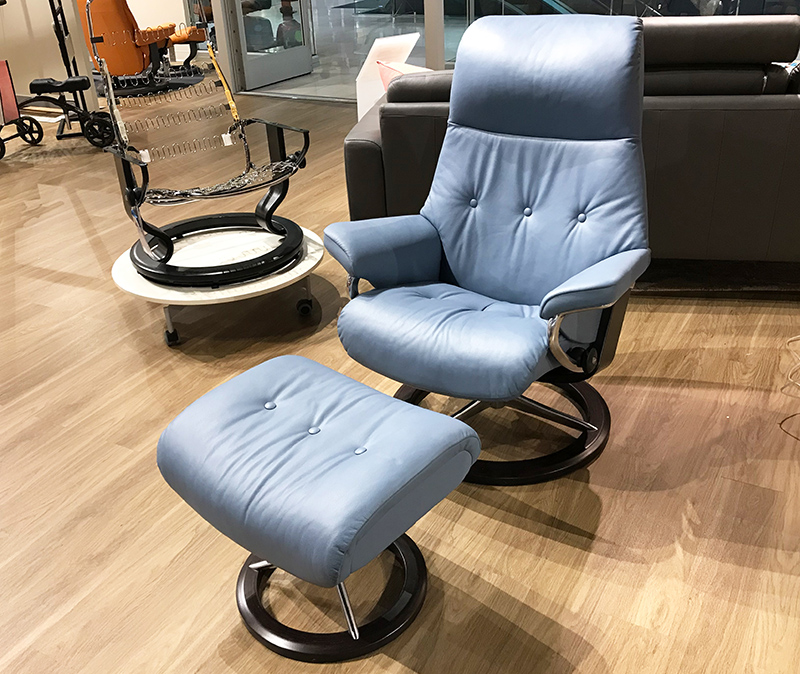 Stressless Sky Recliner Chair and Ottoman in Paloma Sparrow Blue Leather by Ekornes