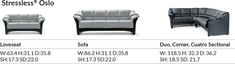 Stressless Oslo Sofa Loveseat and Chair Dimensions by Ekornes