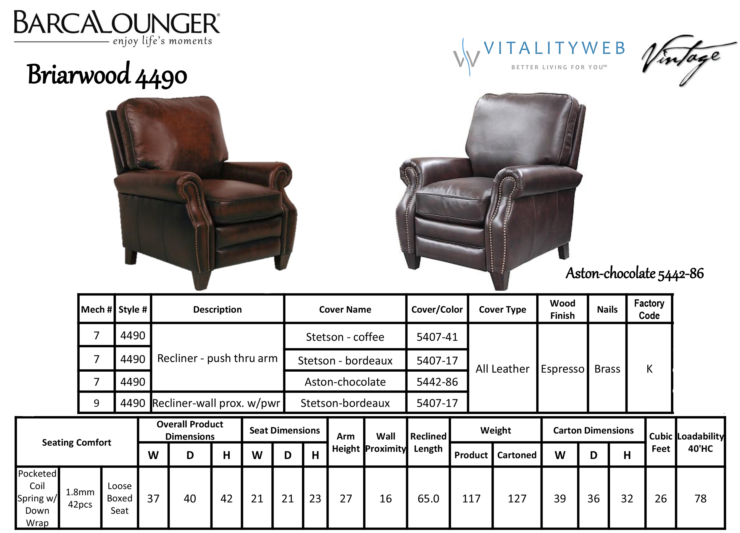Barcalounger Briarwood 4490 Leather Recliner Chair Dimensions