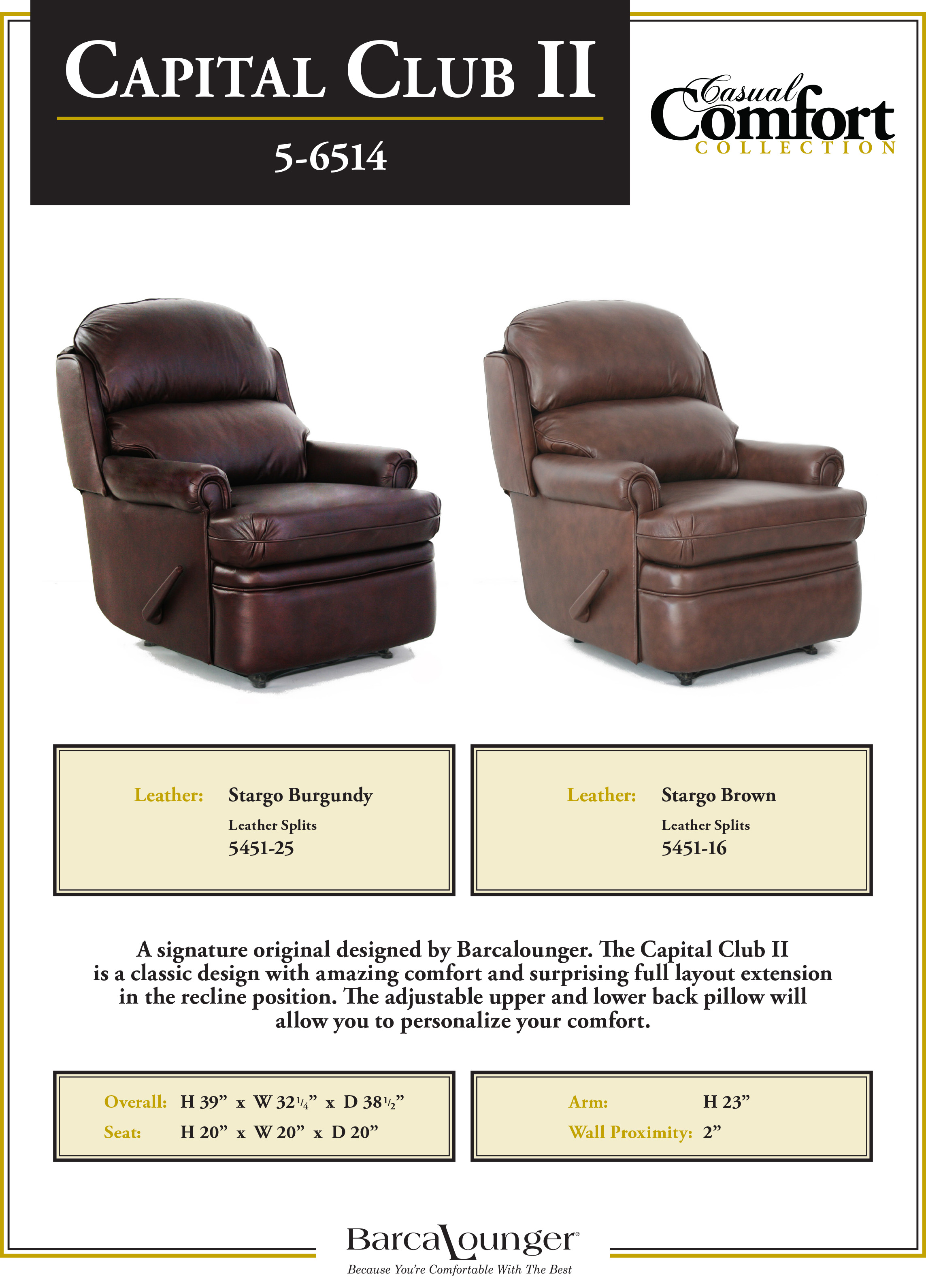Barcalounger Capital Club II Recliner Chair Leather Dimensions
