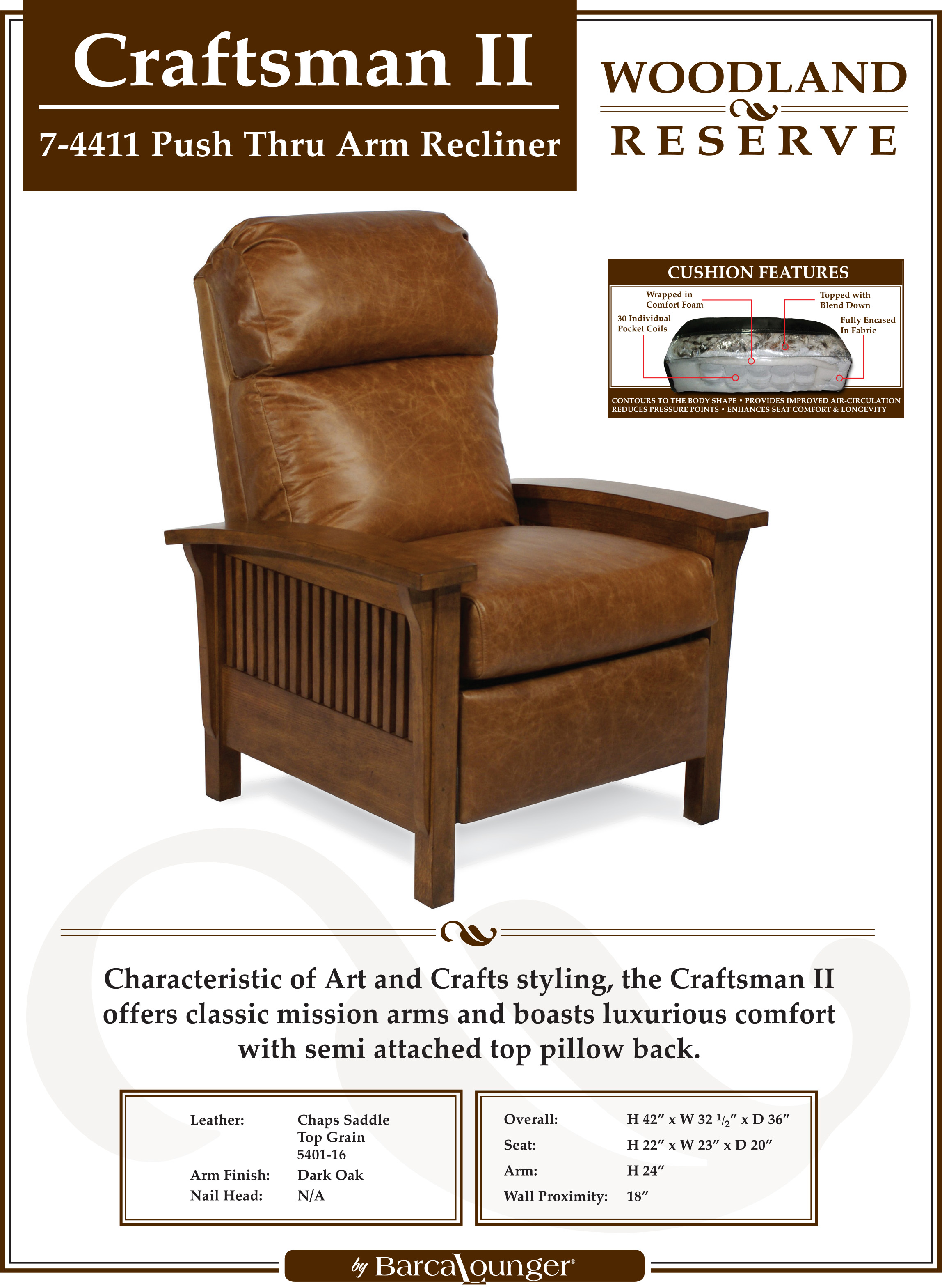 Barcalounger Craftsman II Recliner Chair Leather Dimensions