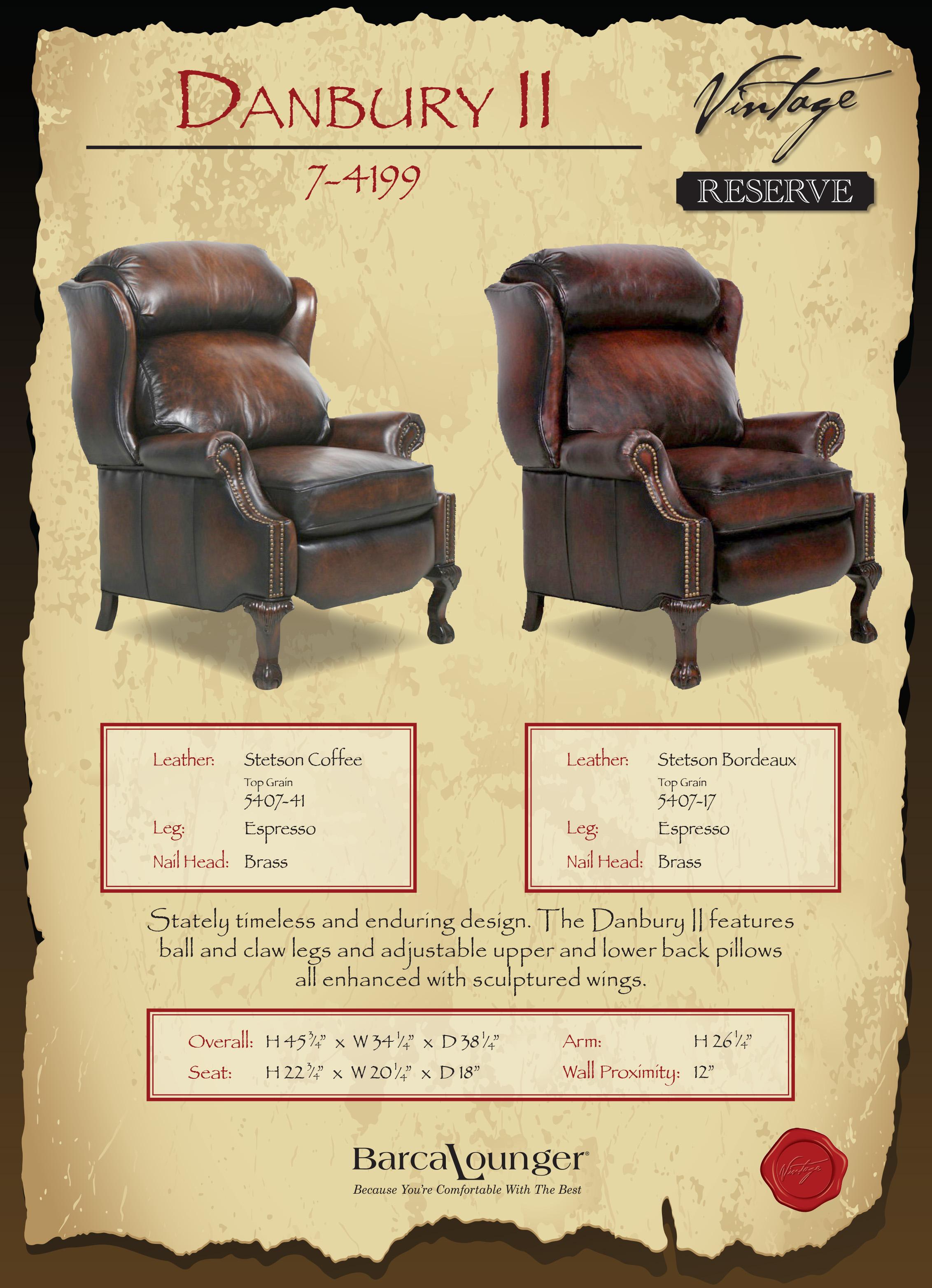 Barcalounger Danbury II Recliner Chair Dimensions