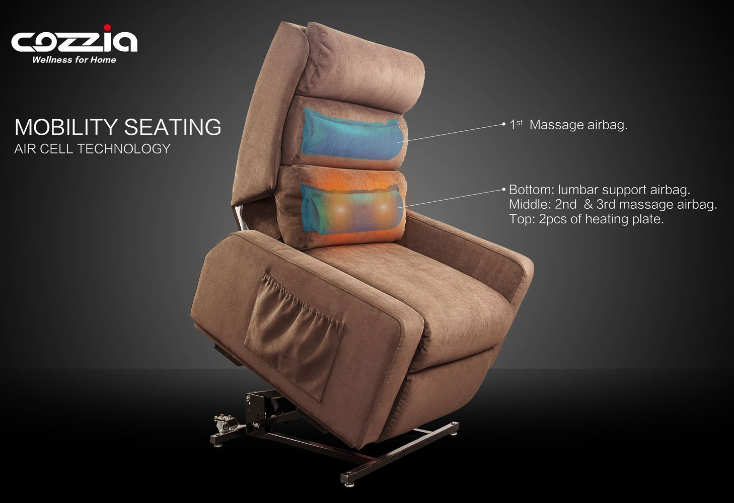 cozzia mc520 layflat infinite position lift chair recliner