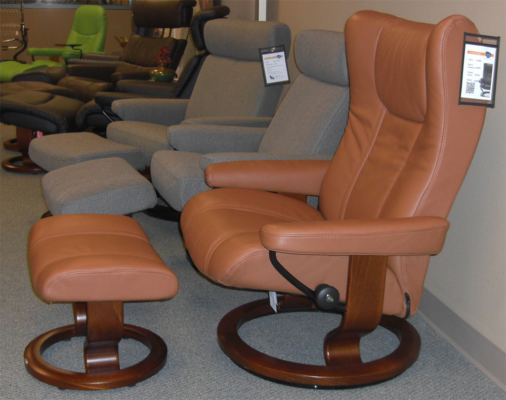 stressless wing recliner chair ergonomic lounger and ottoman by