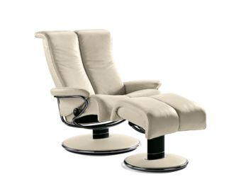 stressless blues large recliner chair ergonomic lounger and ottoman by ekornes ekornes. Black Bedroom Furniture Sets. Home Design Ideas