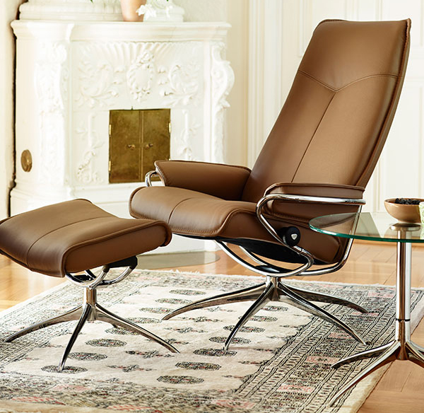 Stressless City High Back Brown Paloma Leather Recliner Chair and Ottoman by Ekornes & Ekornes Stressless City High Back Leather Recliner and Ottoman ... islam-shia.org