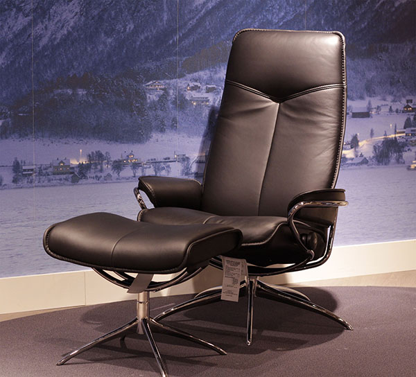 Stressless City High Back Paloma Black Leather Recliner Chair by Ekornes
