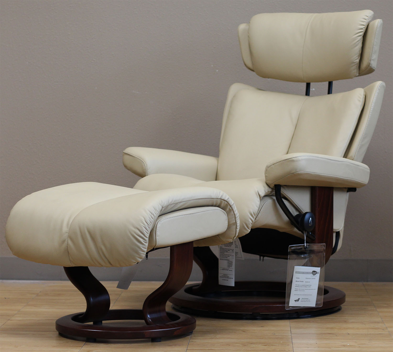 Beau Stressless Magic Paloma Camel Color Leather Recliner And Ottoman