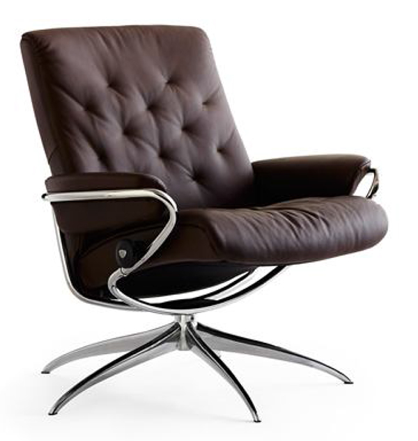 stressless metro low back recliner chair and ottoman by ekornes