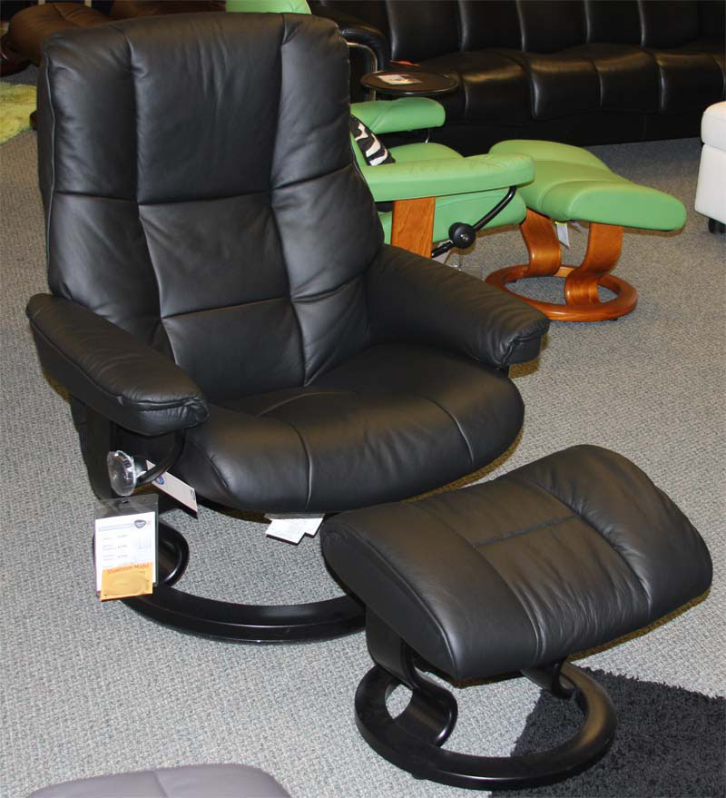 Stressless Mayfair Paloma Black Leather Recliner Chair And
