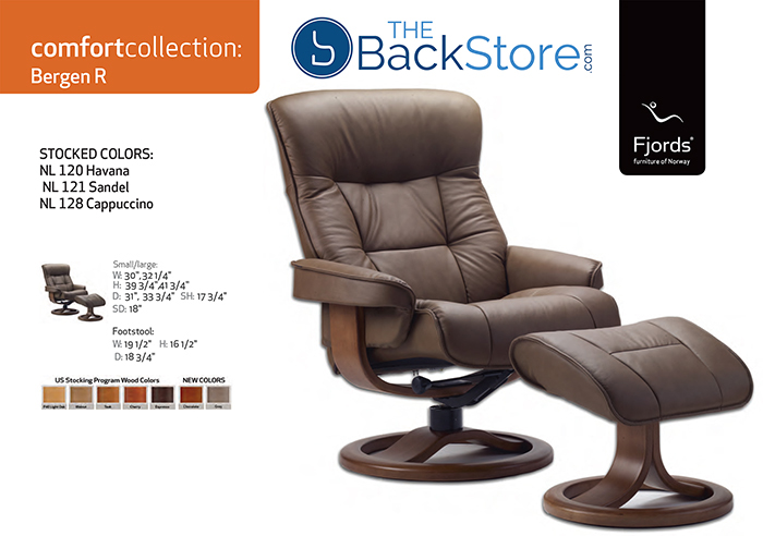 Details about Fjords Bergen Small Recliner Comfort Chair Havana Leather Walnut Wood Stain