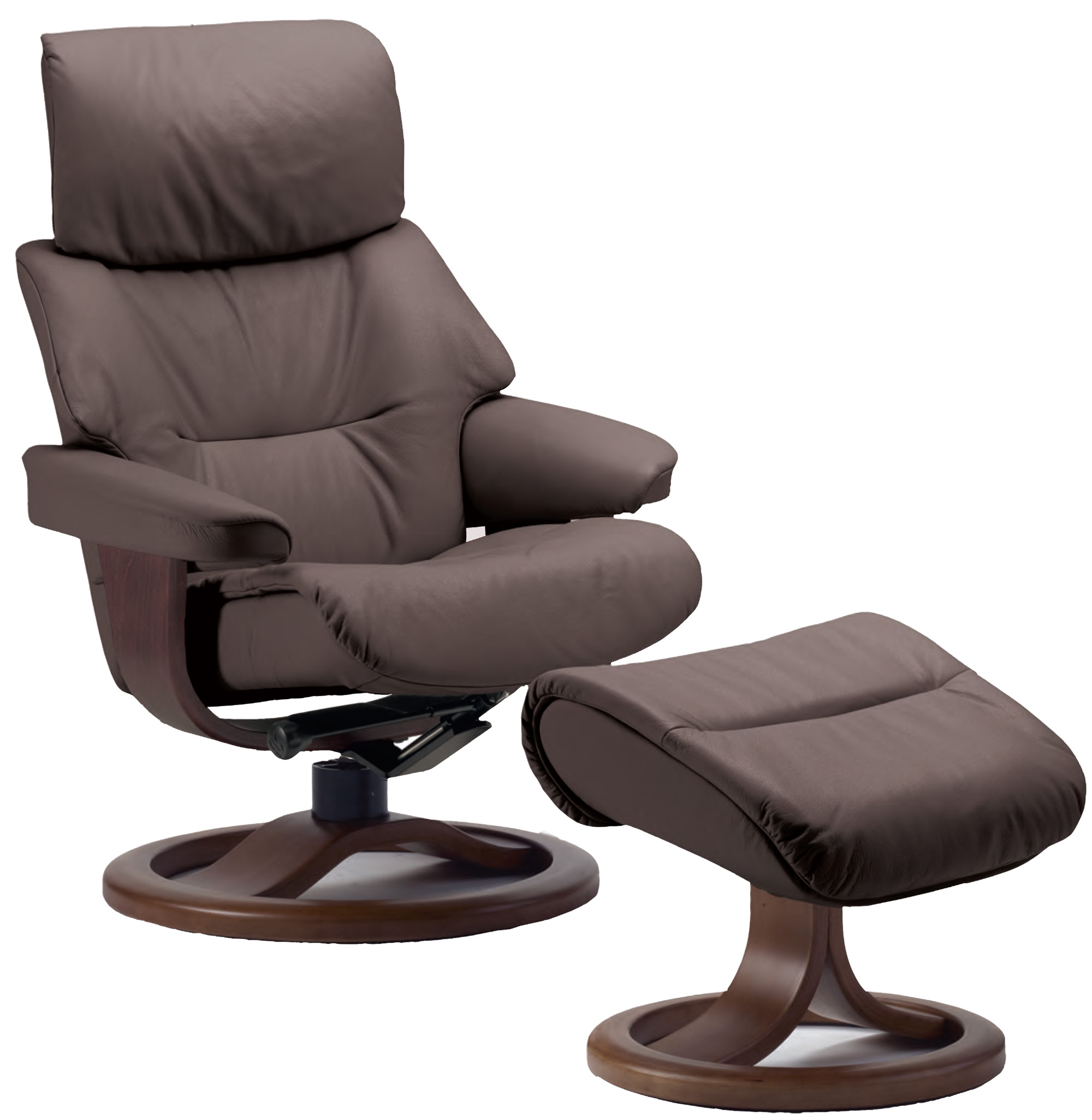 Attractive Fjords Grip Leather Ergonomic Recliner Chair And Ottoman Scandinavian  Lounger