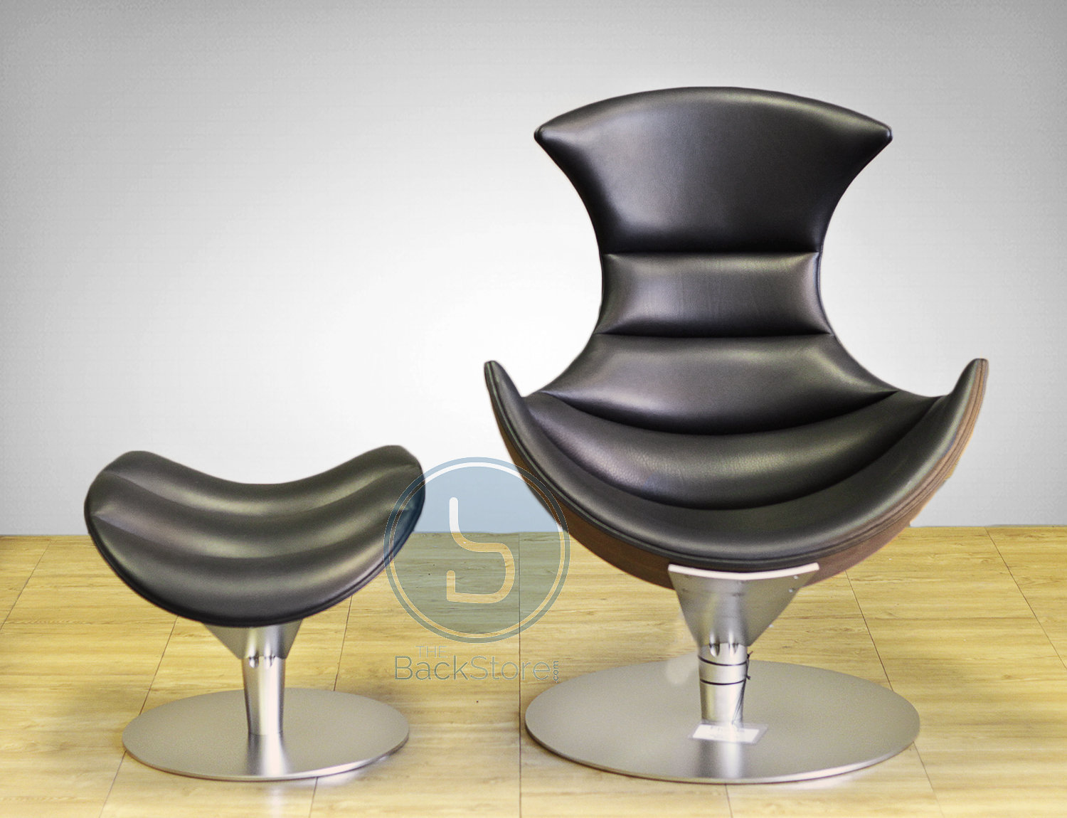 Genial Fjords Lobster Black Leather Chair And Ottoman