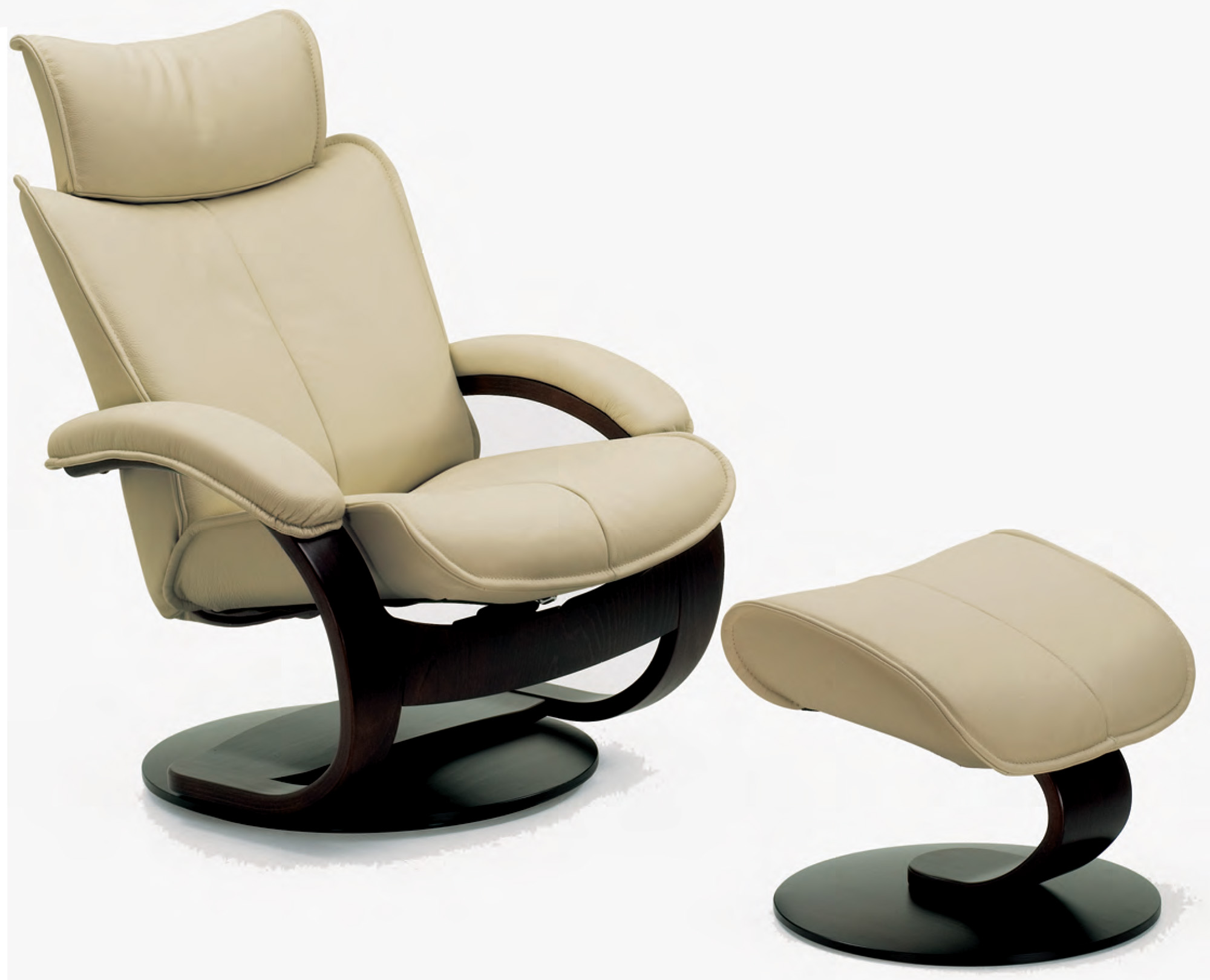 Fjords Ona Ergonomic Leather Recliner Chair And Ottoman Scandinavian Lounger