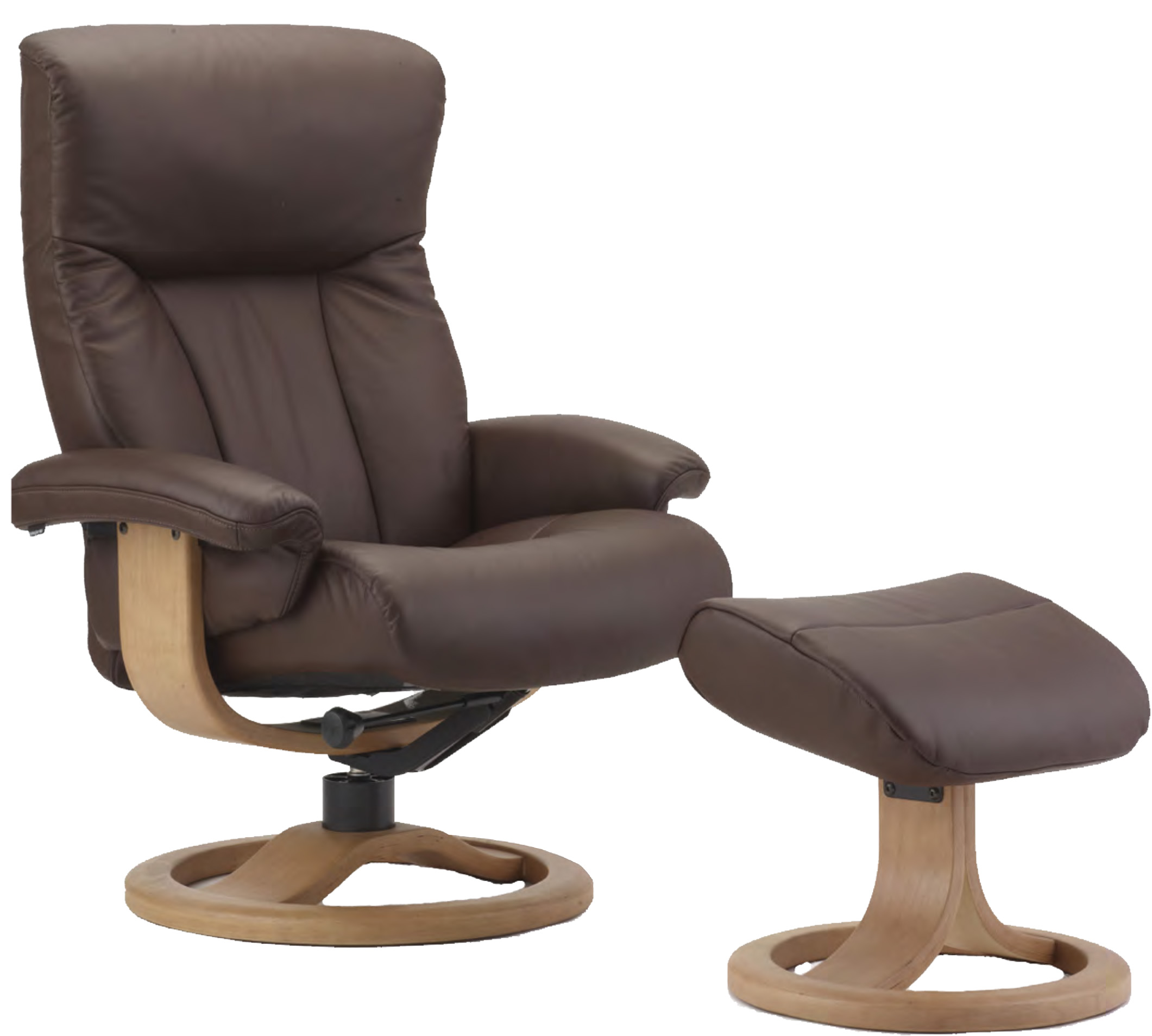 Superb Fjords Scandic Ergonomic Leather Recliner Chair And Ottoman Scandinavian