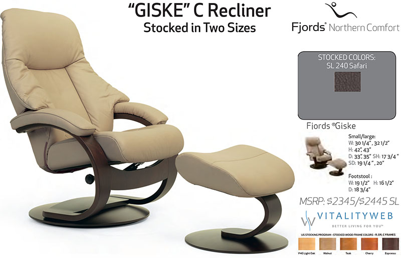 Fjords Giske Ergonomic Leather C Frame Recliner Chair