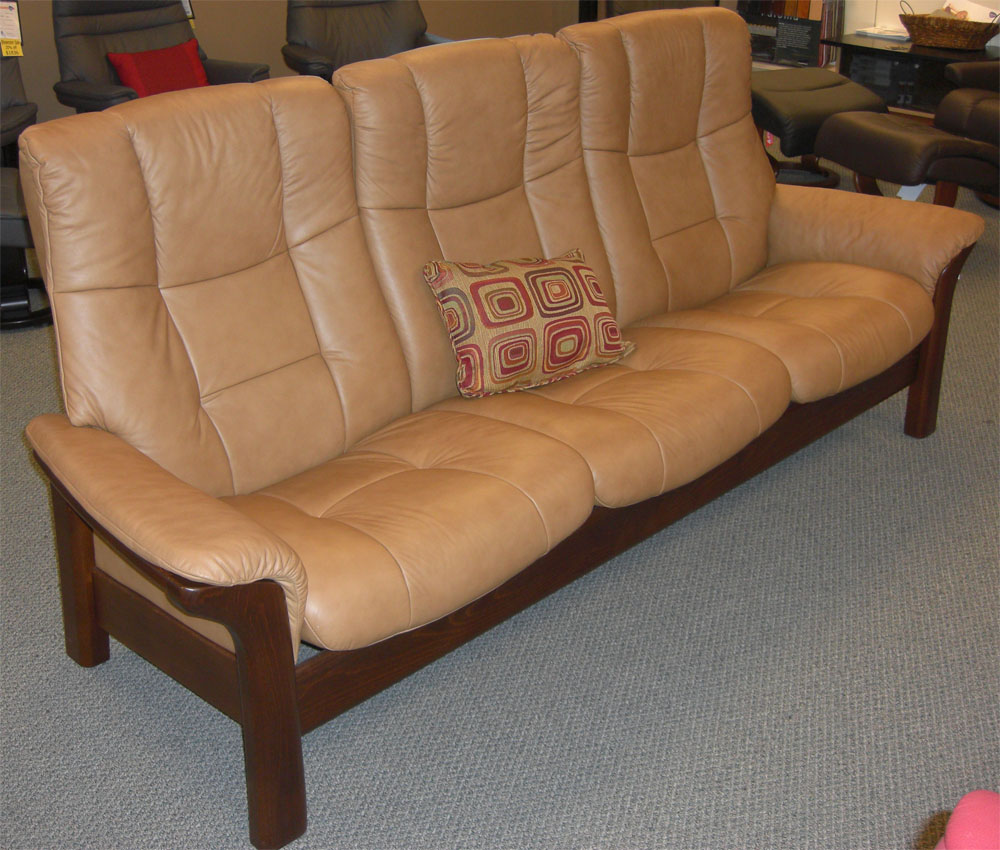 Stressless Buckingham 3 Seat High Back Sofa Paloma Taupe Color Leather by  Ekornes