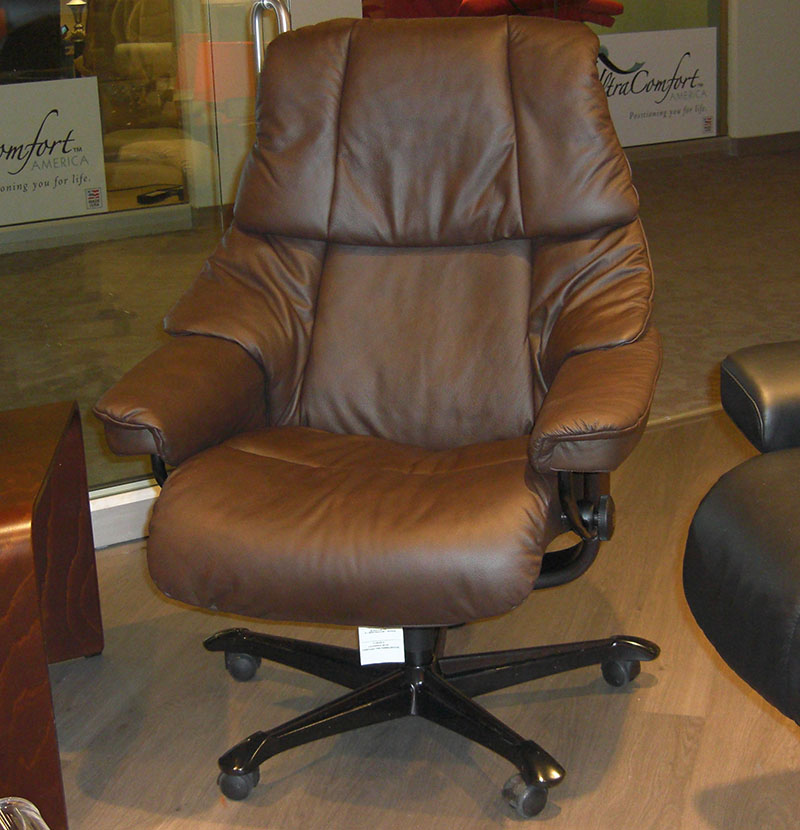 Stressless Paloma Chocolate 09434 Leather Reno Office Chair