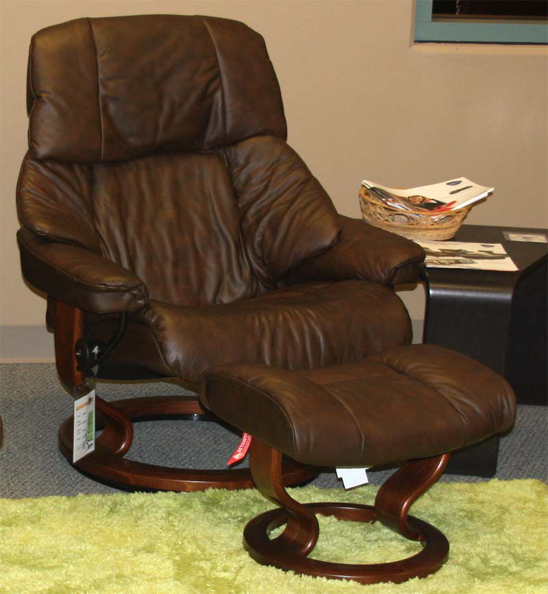 Stressless Vegas Paloma Chocolate 09434 Leather Recliner and Ottoman
