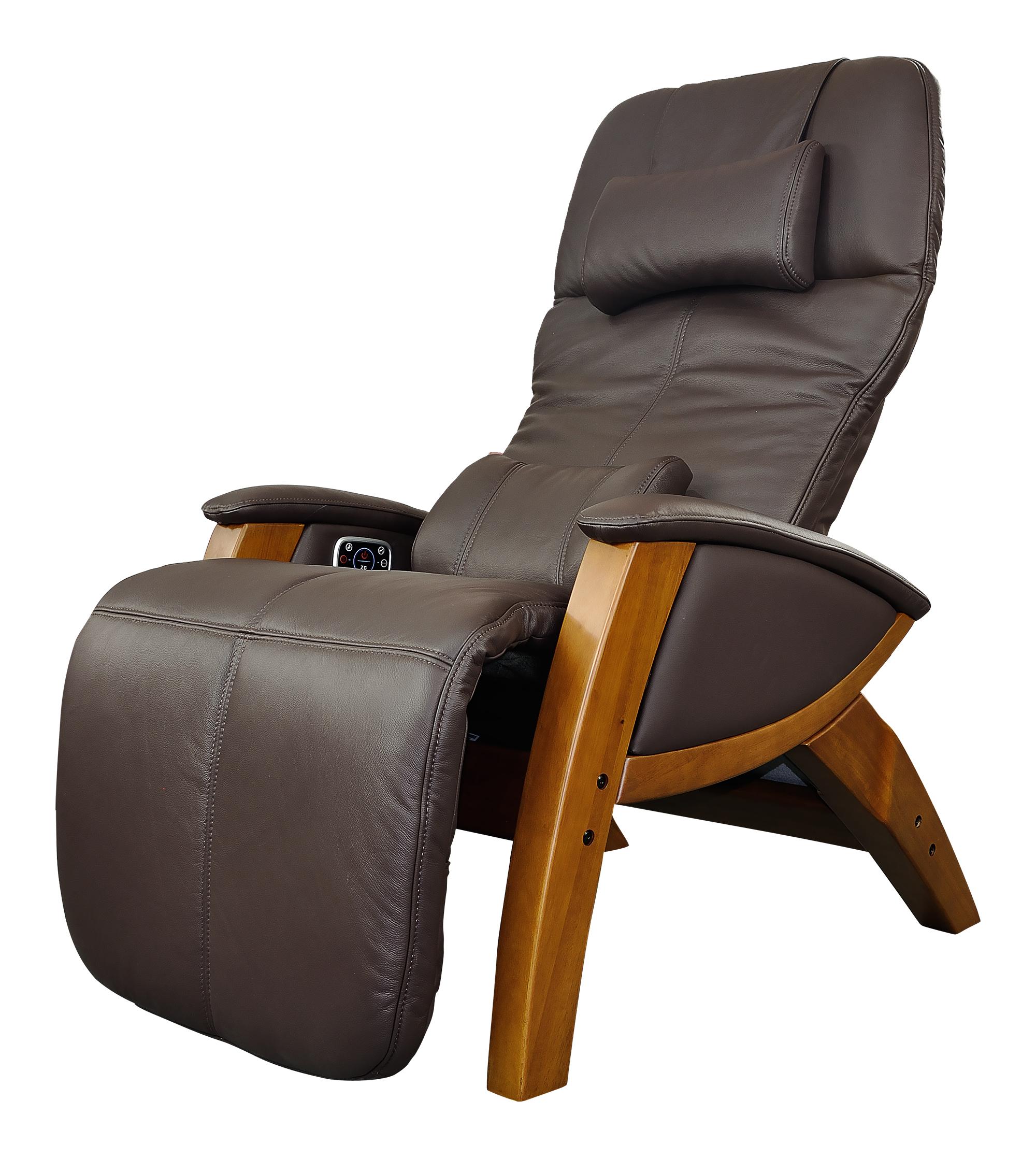 Svago Sv410 Benessere Chair Chocolate Leather Honey Wood Zero Gravity Recliner