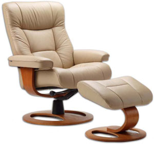 Fjords Manjana Ergonomic Leather Recliner Chair Ottoman