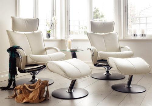 Fjords Ona Ergonomic Leather Recliner Chair Ottoman Scandinavian