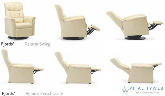 Fjords 855 Urke Ergonomic Relaxor Swing Zero Gravity Recliner Chair  Norwegian Scandinavian Lounger